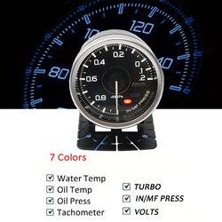 60mm 2.5 polegada def * a1 boost óleo temp água pressão volts vácuo medidor com 7 cores para bmw audi toyota honda
