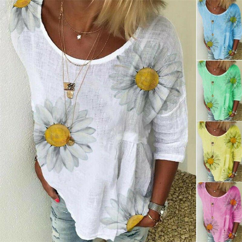 2020 Elegant Women O-Neck Shirt Blouse Summer Casual Three-Quarter Sleeve Pullover Plus Size Daisy Print Female Blusa Tops