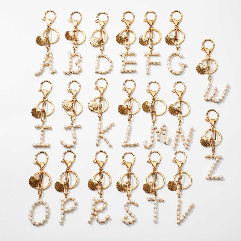 Llavero con inicial de perla de agua dulce Natural de A-Z, llavero con letra del alfabeto, llavero con cadena de eslabones