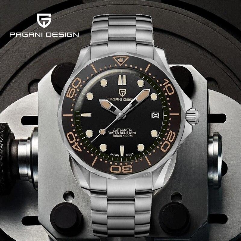 PAGANI DESIGN Luxury Men's Automatic Luminous Steel Mechanical Watch 007 Automatic Winding Watch Men's Accessories Sapphire