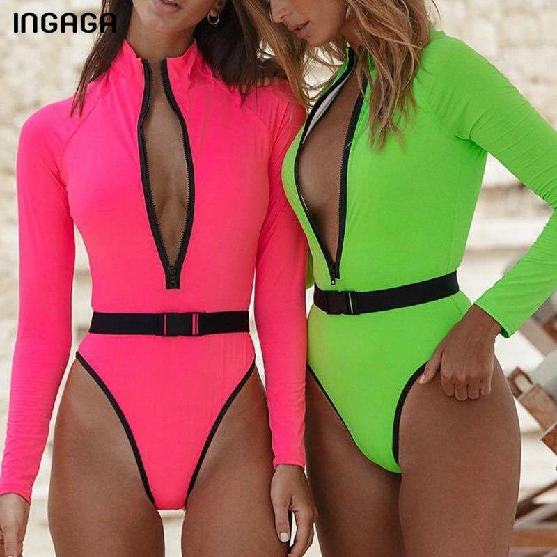 Traje de baño de manga larga INGAGA para mujer, traje de baño de una pieza con cremallera Sexy, traje de baño de corte alto, bañadores 2020, cinturón deportivo, traje de baño para mujer
