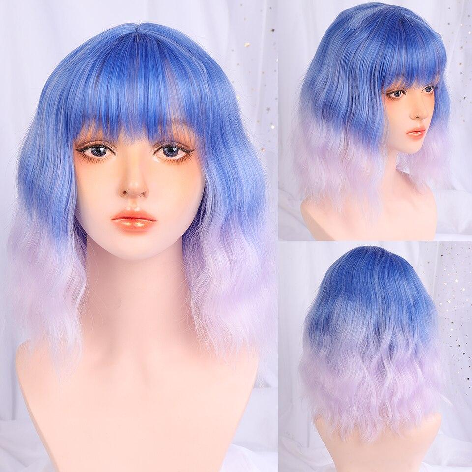 Lupu perucas sintéticas para as mulheres curto