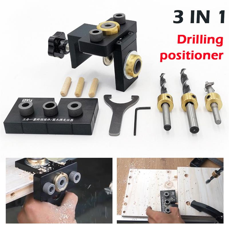 Wood Doweling Jig Pocket Hole Drilling Locator Jig Kit With 8/10/15mm Drill bit Vertical Drill Guide Hole Puncher Tools