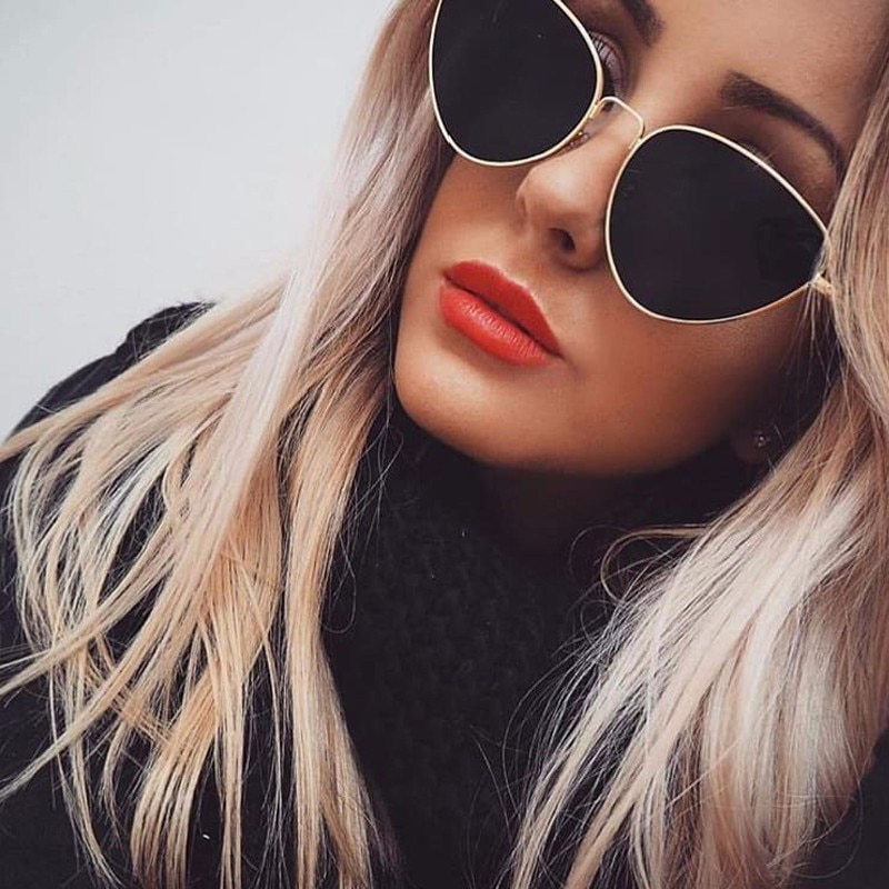 Сексуальные женские солнцезащитные очки кошачий глаз, модные женские Винтажные Солнцезащитные очки в металлической оправе с прозрачными линзами для женщин UV400