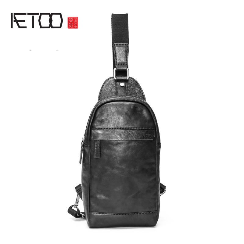 AETOO الصدر حقيبة ، الرجال الاتجاه الجلود واحدة الكتف مميل الصدر حقيبة ، الرجال الأزياء صغيرة الثدي حقيبة