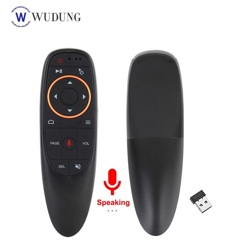 G10 Control de voz inalámbrico de 2,4 GHz Mouse de aire Google micrófono Control remoto IR Aprendizaje de 6 ejes giroscopio para Android TV Box PC