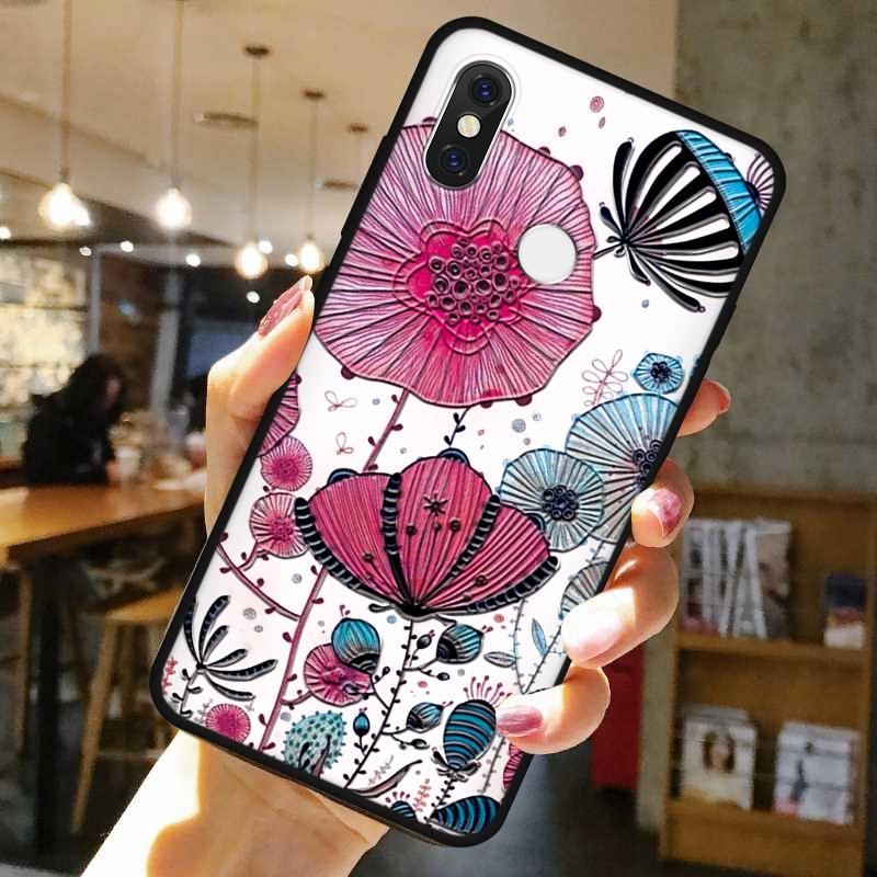Fall 3D-Emboss Blume Für Xiaomi Mi Hinweis 10 9 8 Lite SE Pro CC9 CC9e Spielen Coque Relief Für Xiaomi redmi Hinweis 7 8 8T 6 Pro 7A 8A