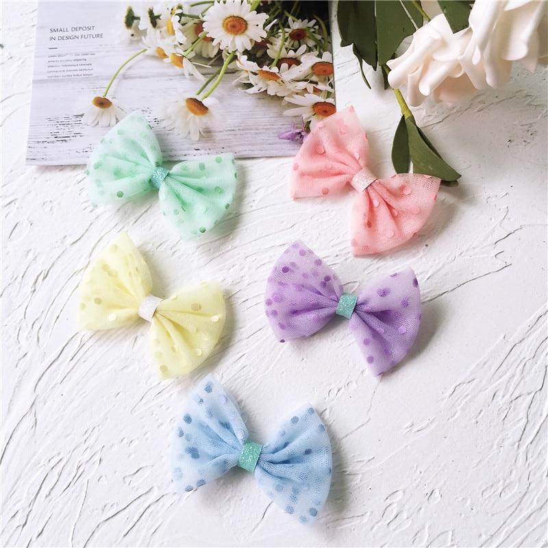 6*4cm 15 unids/lote de malla de lunares con lazo pequeño, apliques de lazo para calcetines de bebé, accesorios y accesorios de clip de pelo para niños