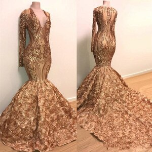 Sequins Applique Mermaid Evening Dresses 2020 Real Image Long Sleeve Gold Champagne 3D Rose Floral Bottom African prom gowns