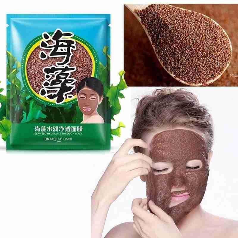 Mascarilla hidratante Natural de algas marinas, máscara hidratante de poros retráctiles, mascarilla facial con hoja de algas para el cuidado de la piel, 15g por paquete