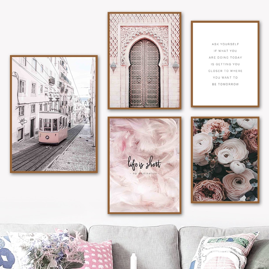 AliExpress - Ramadan Wall Art Canvas Painting Islam Door Rose Feather Muslim Quote Nordic Poster And Prints Decor Pictures For Living Room