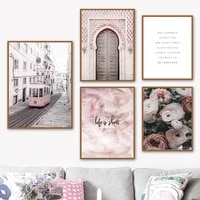ramadan wall art canvas painting islam door rose feather muslim quote nordic poster and prints decor pictures for living room