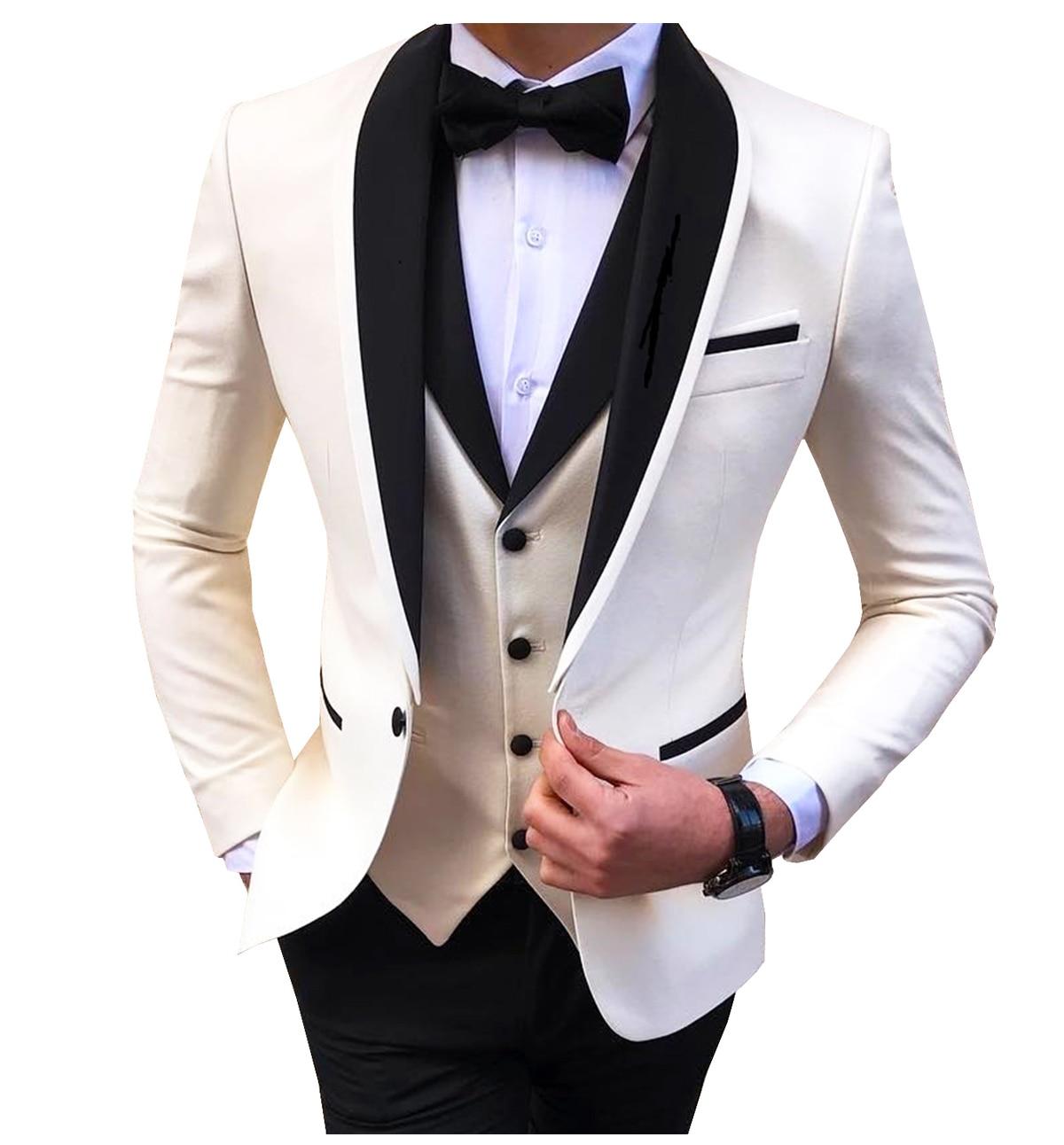 بدلة رجالية بشق أبيض 3 قطع صدرية شال سوداء غير رسمية بدلة العريس لأعياد الزفاف بدلات رجال 2021 (سترة + سترة + بنطلون)
