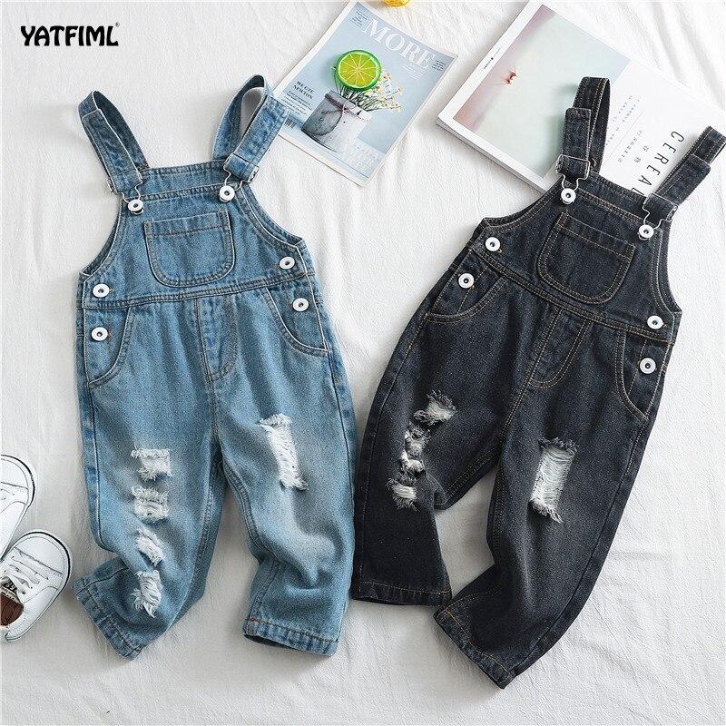 YATFIML, ropa para bebés, monos de otoño para niños, pantalones de algodón con patrón sólido, pantalones de mezclilla, pantalones rasgados, Jumopsuit