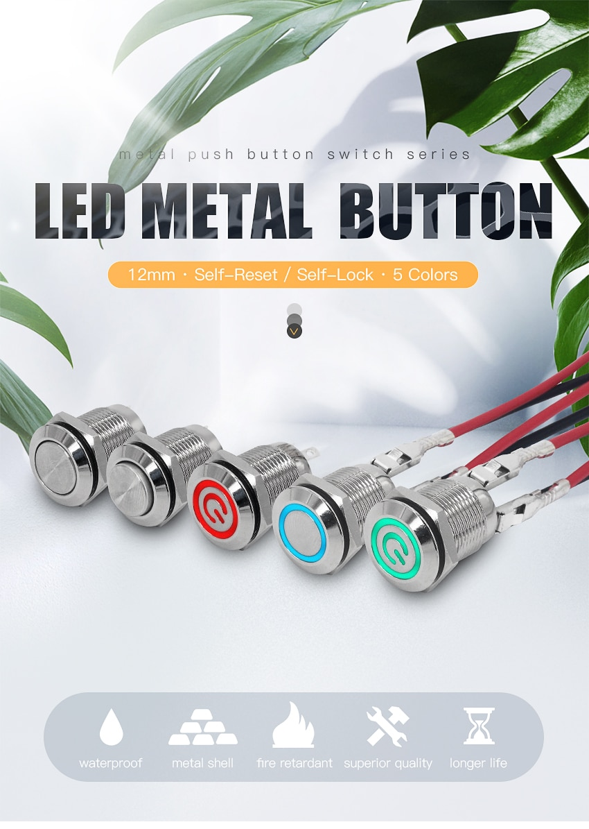 Metal small button 12mm latching power switch Momentary button with LED light 3-6V/12V/24V/220V jog switch Red yellow blue green  - buy with discount