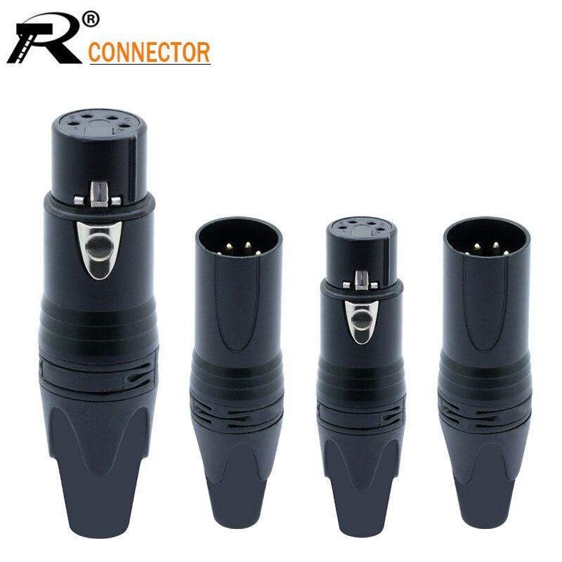 2 pces cobre 4pin alto-falante conector macho e fêmea microfone plug cor mic conector nickle chapeamento xlr conector