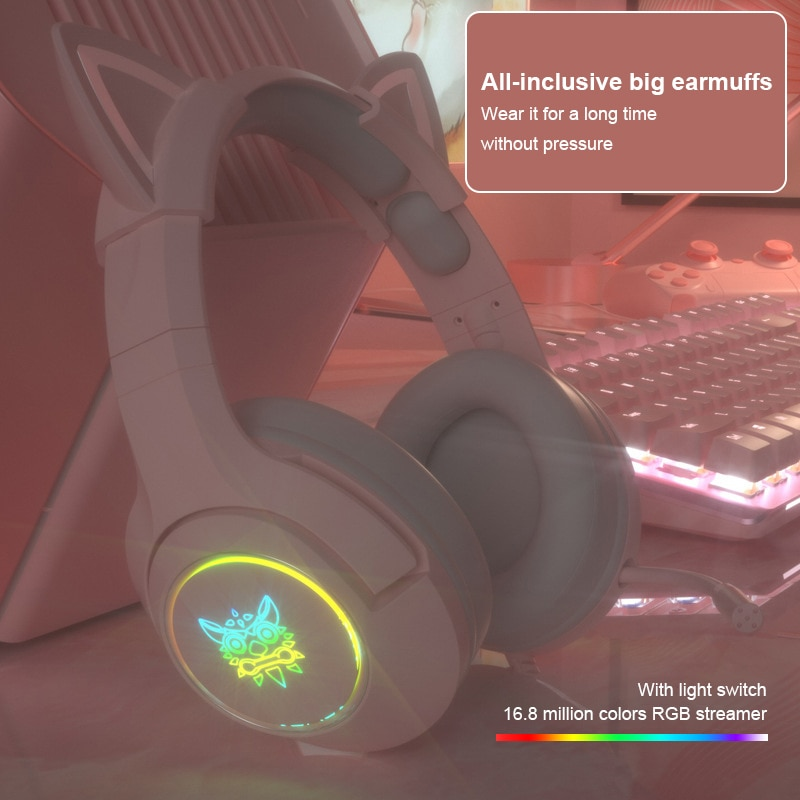 سماعة رأس للألعاب 7.1 صوت محيطي G951 ، سماعة أذن قطة ستريو مع إلغاء الضوضاء ، سماعة رأس للهاتف مع LED USB