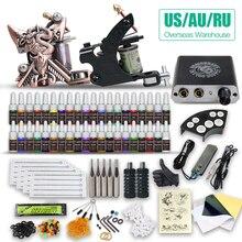 Beginner Complete Tattoo Kit Supplies 2 Machine Guns Power supply Needles Grip Tip Set HW-10GD