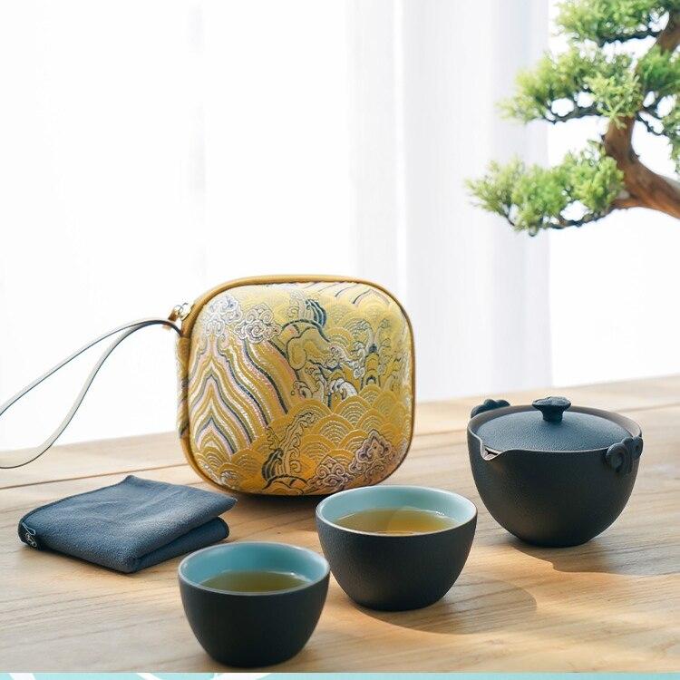طقم شاي للسفر محمول يدوي إبداعي بسيط طقم شاي الكونغفو سيراميك فاخر بعد الظهر جوجو دي تشا تيوير مجموعات DI50CJ
