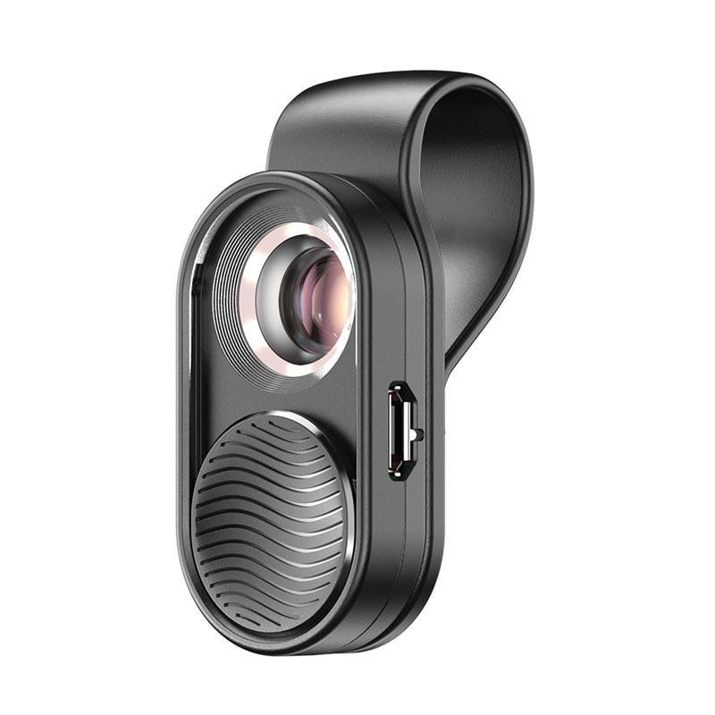 apexel 100x macro lente do telefone olho de peixe lente led luz microscopio bolso