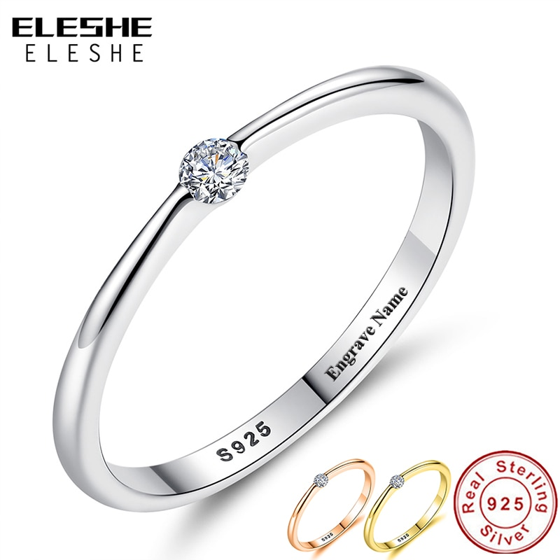 ELESHE Authentic 925 Sterling Silver Rings Round Zirconia Crystal Finger for Women Wedding Original Jewelry