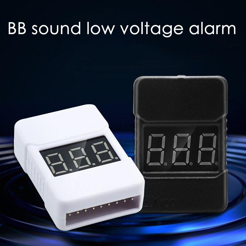 Negro/blanco BX100 1-8S probador de voltaje de la batería Lipo/alarma de vibración de bajo voltaje/comprobador de voltaje de la batería con altavoces duales