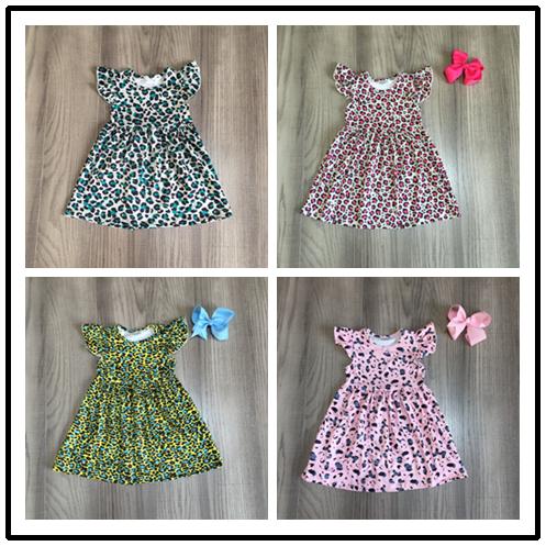 Vestido de verano de algodón para niñas, vestido de leopardo con lazo
