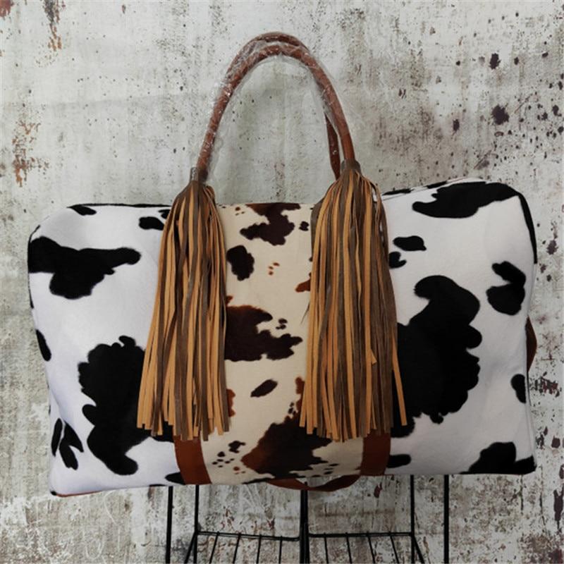 تصميم جديد سعة كبيرة الحيوان البقرة طباعة عطلة نهاية الأسبوع حزام واحد استخدام الشاطئ حقيبة مع شرابات في الهواء الطلق Totebag