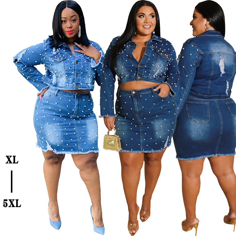 Denim saia grânulo das mulheres mais tamanho dois conjuntos de peças manga longa casaco e saco quadris saia roupas casuais por atacado mini vestido