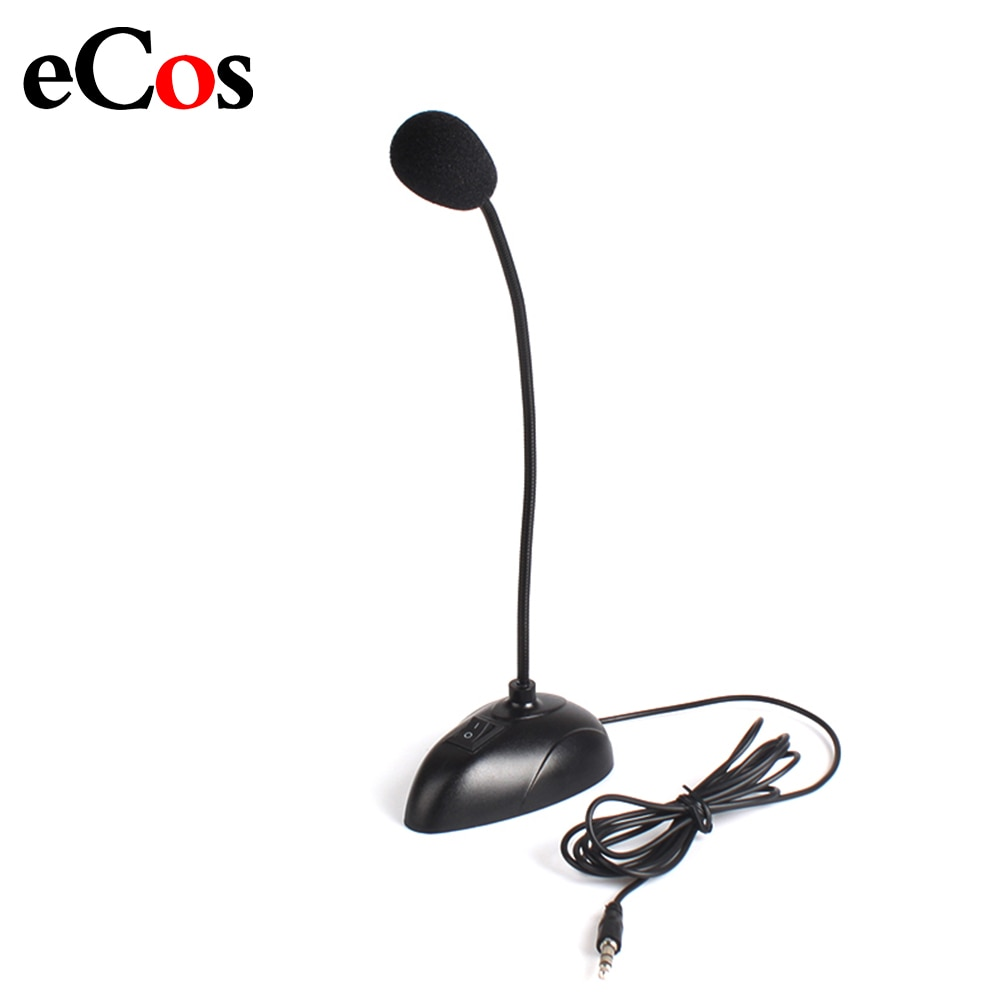 Soporte Flexible Mini micrófono de voz de estudio 3,5mm enchufe de cuello de cisne micrófono con cable para computadora PC Notebook de escritorio #21230