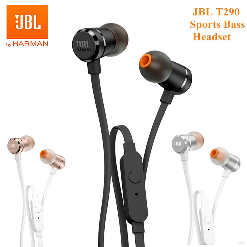 aliexpress.com - 100% Original JBL T290 3.5mm Wired Earphones Stereo Music Sports Pure Bass Headset 1-Button Remote Hands-free Call with Mic