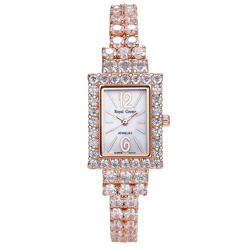 Royal Crown-ساعة مرصعة بالزركونيا المكعبة للنساء ، سوار ياباني أنيق ، أحجار الراين ، عصرية ، صندوق هدايا للبنات