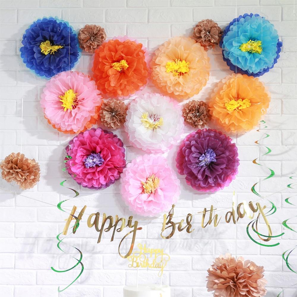 Набор из 3 тканевых цветов, многоцветные свадебные декорации, помпоны, цветочные бутоны для чайной вечеринки, дня рождения, детского сада, вечеринки, декора