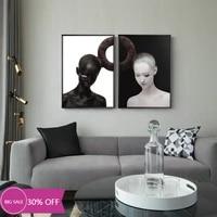 Affiches de peinture en toile pour decoration de noel  tableau dart mural de fille en noir et blanc pour salon  decoration de maison