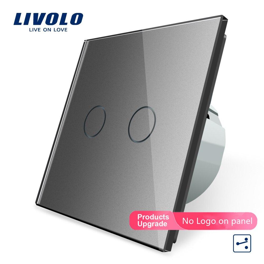الصانع ، Livolo الاتحاد الأوروبي ستاندرد اللمس التبديل ، 2 عصابة 2 طريقة التحكم ، جدار ضوء التبديل ، VL-C702S-15 في رمادي اللون