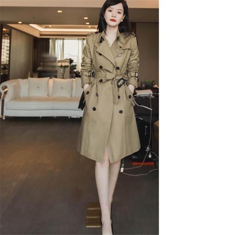 High Quality Windbreaker Women Spring Autumn New Korean Double Breasted Trench Coat Casual Belt Khaki Long Female Overcoat Y636