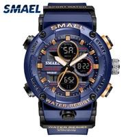 SMAEL спортивные часы мужские водонепроницаемые светодиодный цифровые часы секундомер большой циферблат часы для мужчин 8038 relogio masculino мужски...