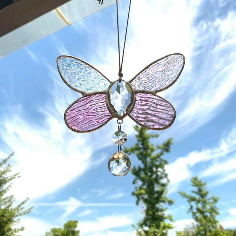 H & D الوردي الزجاج الملون فراشة sunالماسك قوس قزح صانع نافذة جدار لوحات فنية معلقة ديكور سيارة السحر هدية فكرة للأصدقاء أمي
