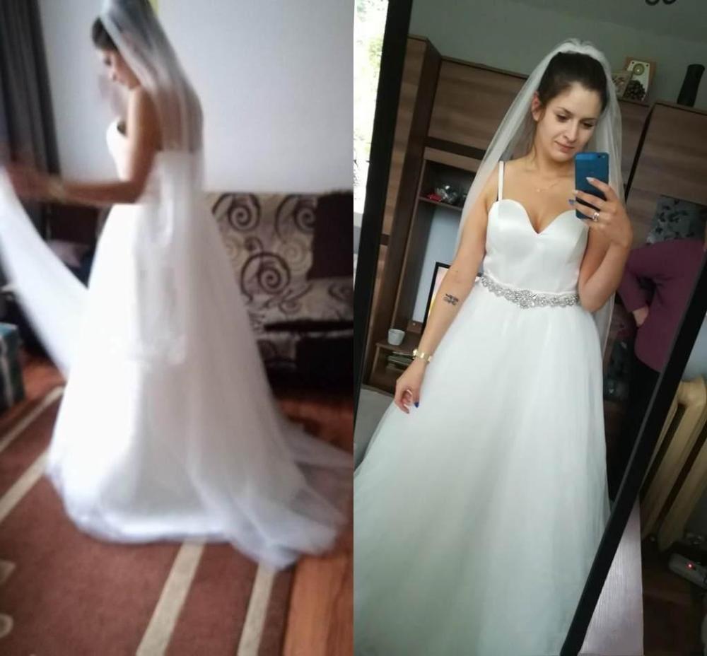 Exquisito vestido de novia Simple Staghetti trapks Sweetheart fajines con cuentas satinado hasta el suelo una línea vestido de novia nuevos vestidos de llegada