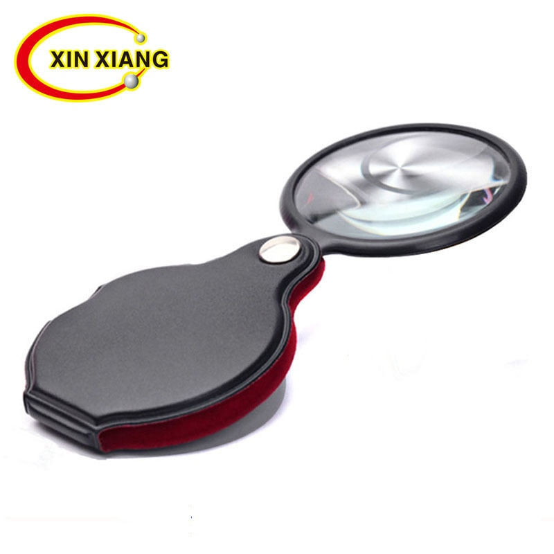 Portable Handheld Magnifier 8X Leather Magnifier Loupe Pocket Magnifying Glass Reading Monocle Jewel