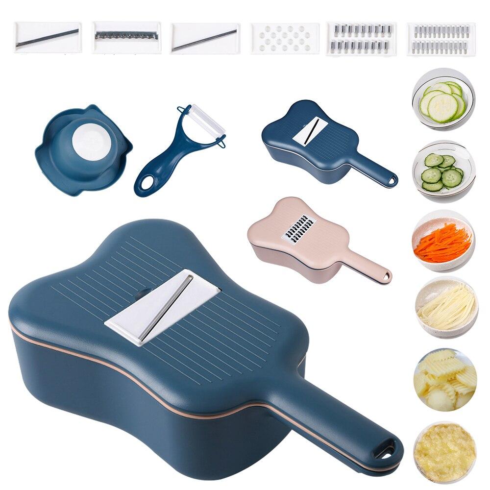 Cortador de verduras multifuncional 10 Uds., escurridor, pelador de patatas y tomates, rebanador de zanahorias, rallador, ensaladera, artículos de cocina