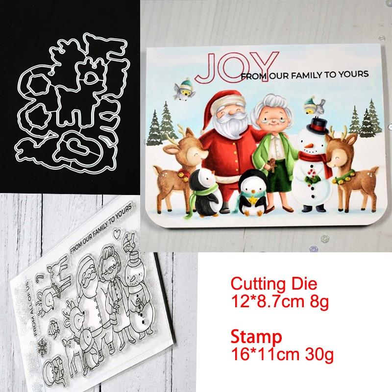 Santa Claus y Reinde troqueles de corte de Metal y plantilla de sellos para álbum para recortes de fotos tarjetas de papel de grabado