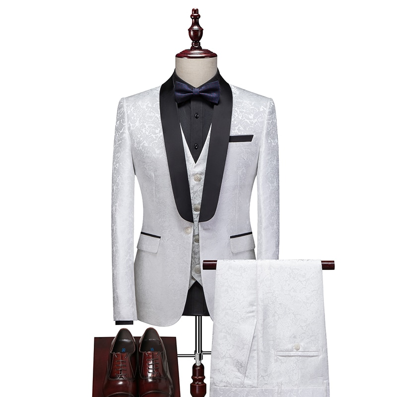 3pcs /Men Vintage Three piece suit Hot spring men's latest custom design suit groom wedding suit Night Club Singers Prom Party