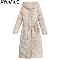 ayunsue womens winter down jackets 2020 korean style coats woman 90white duck down jackets female long parkas ropa mujer tn259