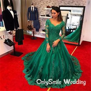 Green Evening Gowns Vestido longo festa Beaded Formal Evening Wear Long Sleeve Lace Applique Plus Size Prom Gowns Robe de soiree