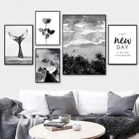 black white beach wall art canvas posters prints nordic rose cactus paintings pictures for living room modern home decor