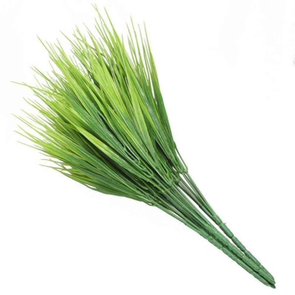 1 ud. De hojas artificiales de plástico para vegetación, arbustos, hierba de trigo, jardín Artificial, oficina, follaje, plantas al aire libre, decoración de hojas, arbusto falso W6T3
