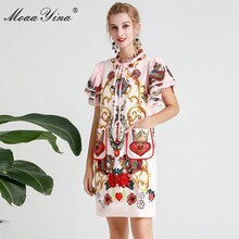 MoaaYina mode Designer robe de piste printemps été femmes robe à manches courtes Vintage imprimé perles Sequin appliques robes
