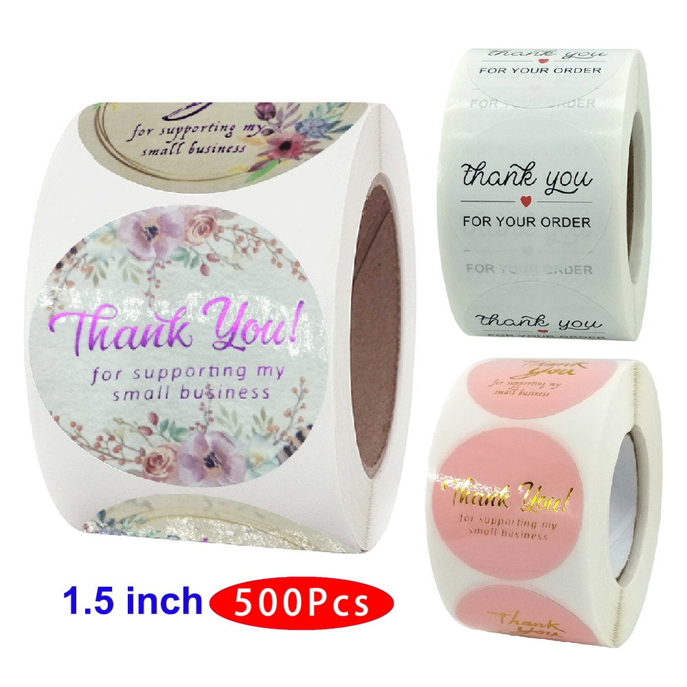1.5'' 500Pcs Aesthetic Cute Thank You Sticker Support My Small Business Your Order Great Taste Handmade Love Supply Seal Label