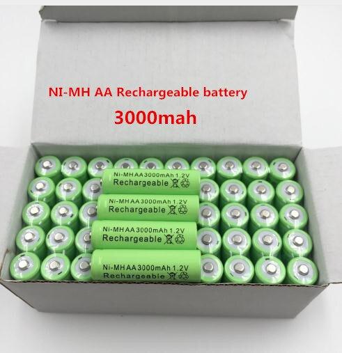 4/8/12/20/50 Uds. 100% batería recargable Original AA 3000 mAh 1,2 V calidad AA 3000 mAh Ni-MH batería recargable 1,2 V 2A